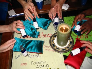 Group members make herbal eye pillows with calming properties.