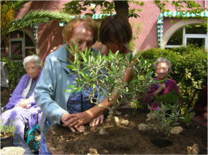 Martine Brulé leads a patient working on a garden in a tray.